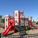 Playground equipment provides hours of fun for the little ones